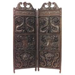 English Regency Style 19th Century Carved Oak 2-Fold Screen