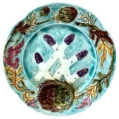 French Majolica Asparagus Plate