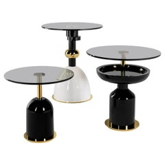 Contemporary Minimal Black, White and Gold Round Side Table Set