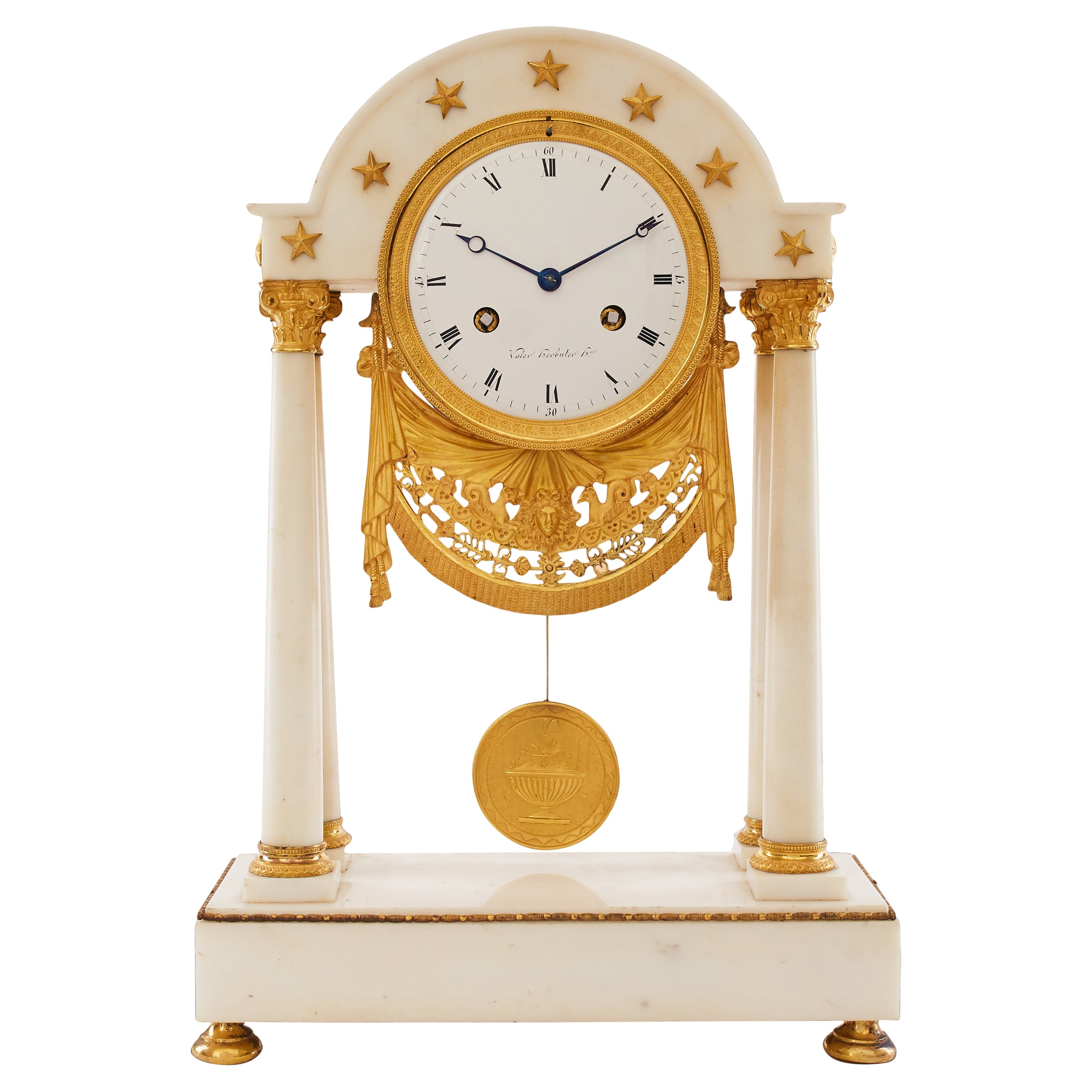19th Century Gilt Bronze and White Marble Portico Clock