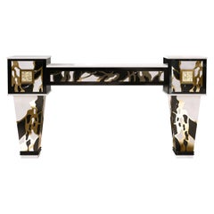 Art Deco Inspired Console Table in Estremoz Marble & Negro Marquina Marble