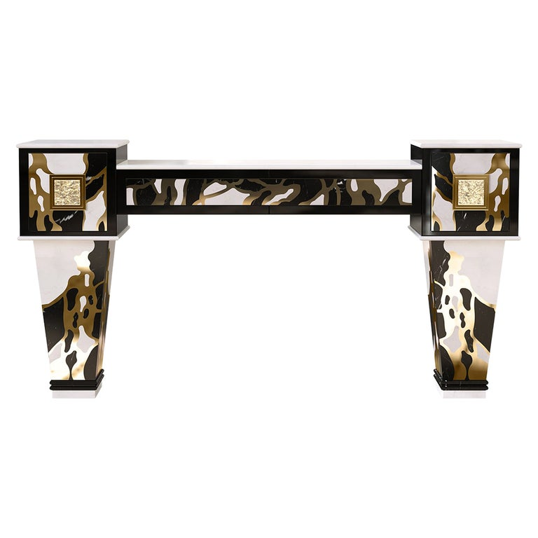 Art Deco Inspired Console Table in Estremoz Marble & Negro Marquina Marble For Sale