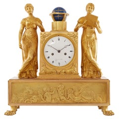 """Empire Mantel Clock in Gilt Bronze Depicting """"Allegory of Astronomy"""""""