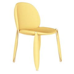 Contemporary Minimal Yellow Velvet Dining Chair in Gold Polished Stainless Steel