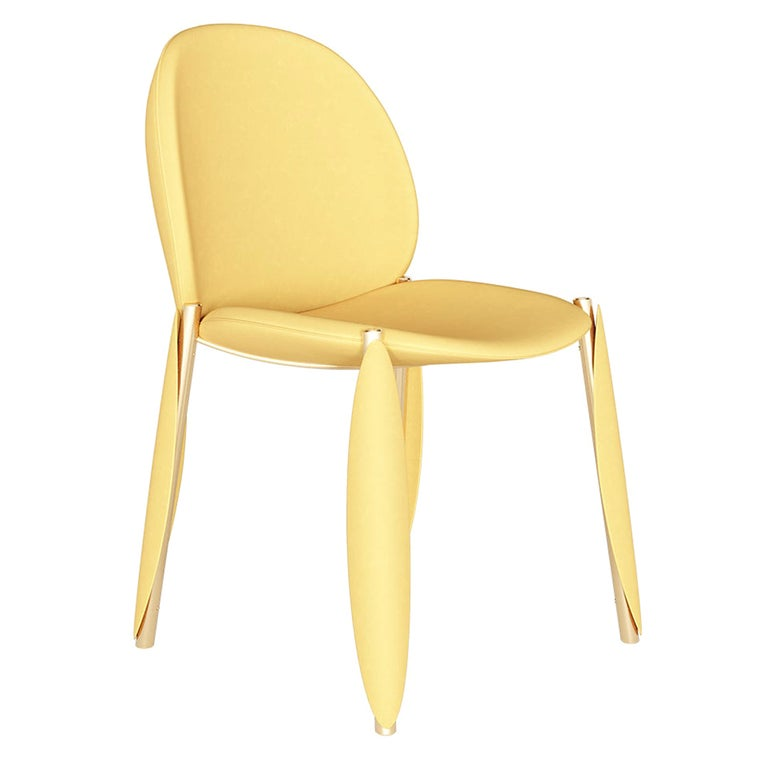 Contemporary Minimal Yellow Velvet Dining Chair in Gold Polished Stainless Steel For Sale