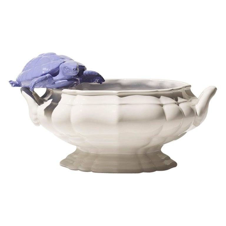 21st Century Italy Grey Blue Bowl Sculpture Ceramica Gatti designer A. Anastasio