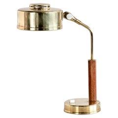 Bröderna Johansson Desk Lamp in Brass and Teak, Skellefteå, Sweden, 1950s