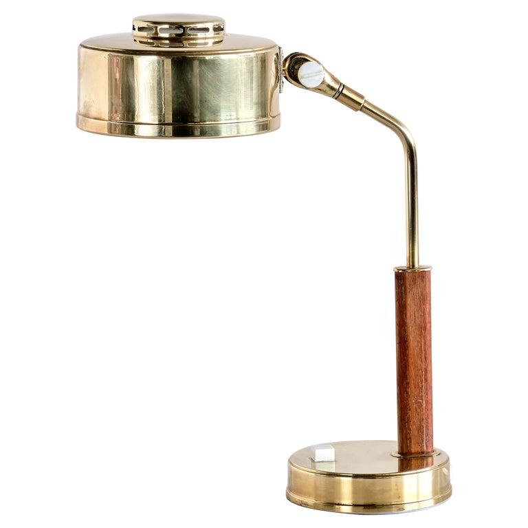 Bröderna Johansson Desk Lamp in Brass and Teak, Skellefteå, Sweden, 1950s For Sale