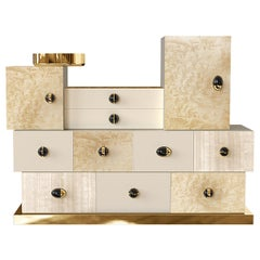Contemporary Neutral Hues Chest of Drawers in Black Nickel