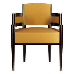 Art Deco Style Orange Velvet Dining Chair in Gold Polished Stainless Steel