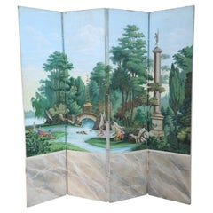 Vintage Neo-Classic Style Painted Pastoral Scene Four Panel Folding Screen