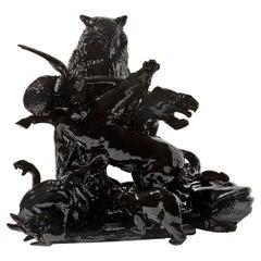 21st Century Italy. Black Owl Sculpture by Ceramica Gatti designer A. Anastasio