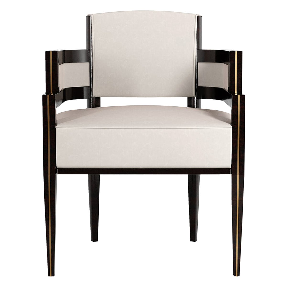 Art Deco Style White Velvet Dining Chair in Gold Polished Stainless Steel