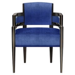Art Deco Style Blue Velvet Dining Chair in Gold Polished Stainless Steel
