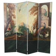 Italian Neoclassical Bird and Garden Vignette Folding Screen