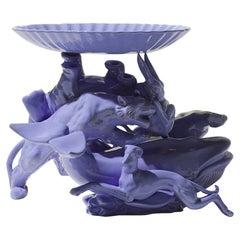 21st Century Italy Grey Blue Hare Sculpture Ceramica Gatti designer A. Anastasio