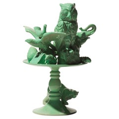 21st Century Italy.  Green Bear Sculpture Ceramica Gatti, designer A. Anastasio