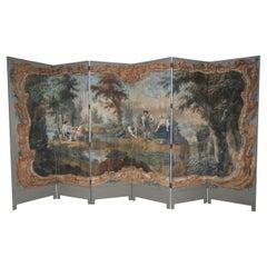 Italian Neo-Classical Style Figurative Painting 6-Paneled Folding Screen