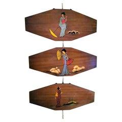Teak Wood Decorative Panels with Japanese Kimono Figures
