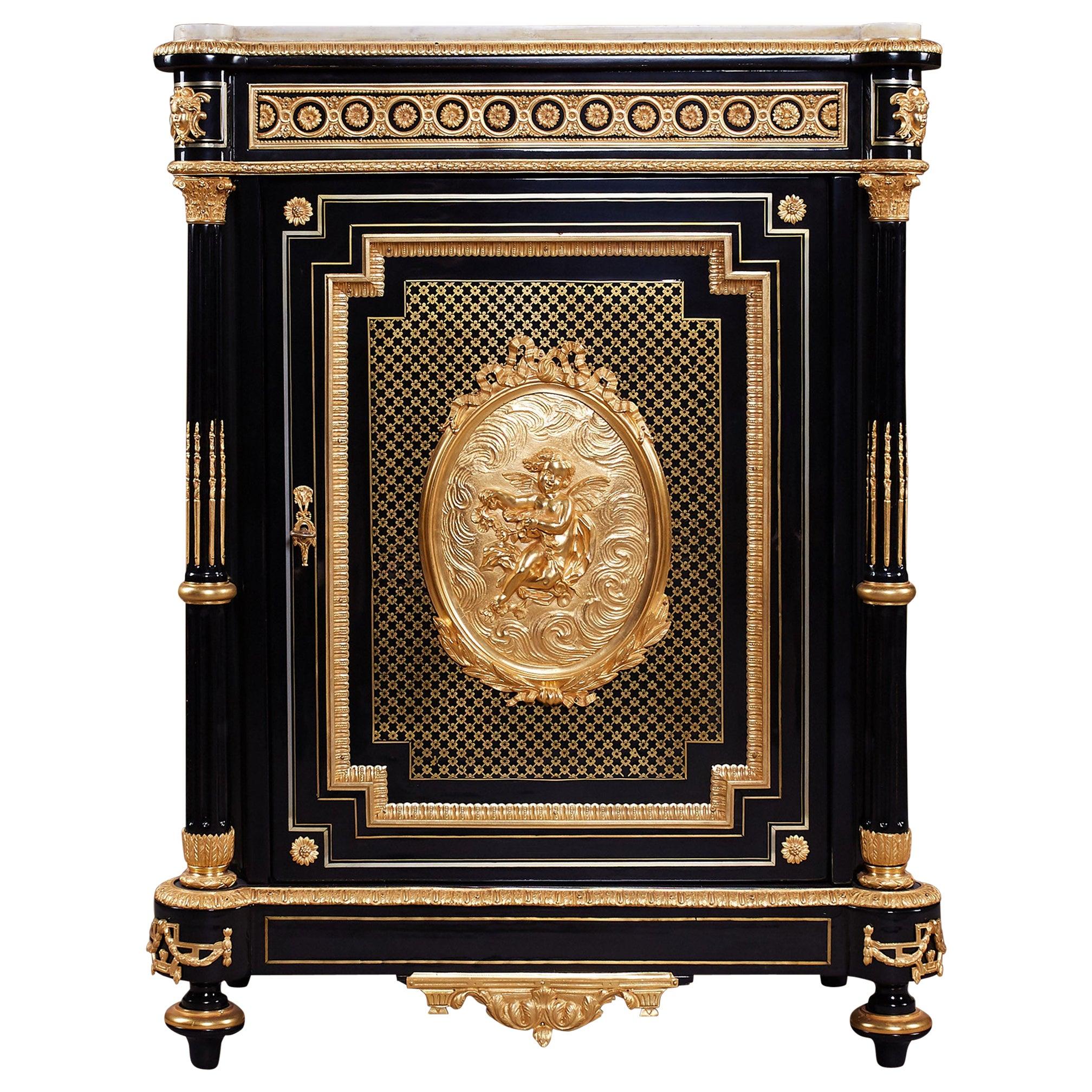 Gorgeous Antique Ebonized and Ormolu Cabinet