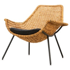 Mid-Century Modern Rattan Lounge Chair by Giancarlo De Carlo Italy, 1954