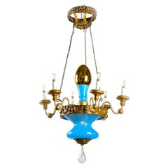 19th Century Italian Glass Chandelier from Tuscany Turquoise Opaline Glass
