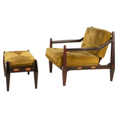 Mid-Century Easy Chair with Ottoman by Jean Gillon Rosewood Suede Brazil, 1960s