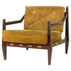 Mid-Century Easy Chair by Jean Gillon Rosewood Suede, Brazil, 1960s