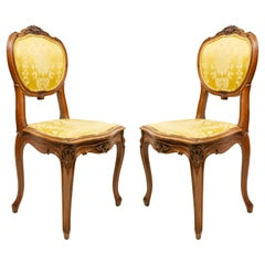 Set of 10 French Louis XV Gold Damask Side Chairs