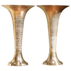 Italian Early 20th Century Modernist Hammered Cast Aluminum Trumpet Shape Vases