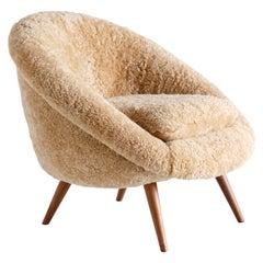 Gustav Bergmann Lounge Chair in Sheepskin and Beech, Germany, 1960