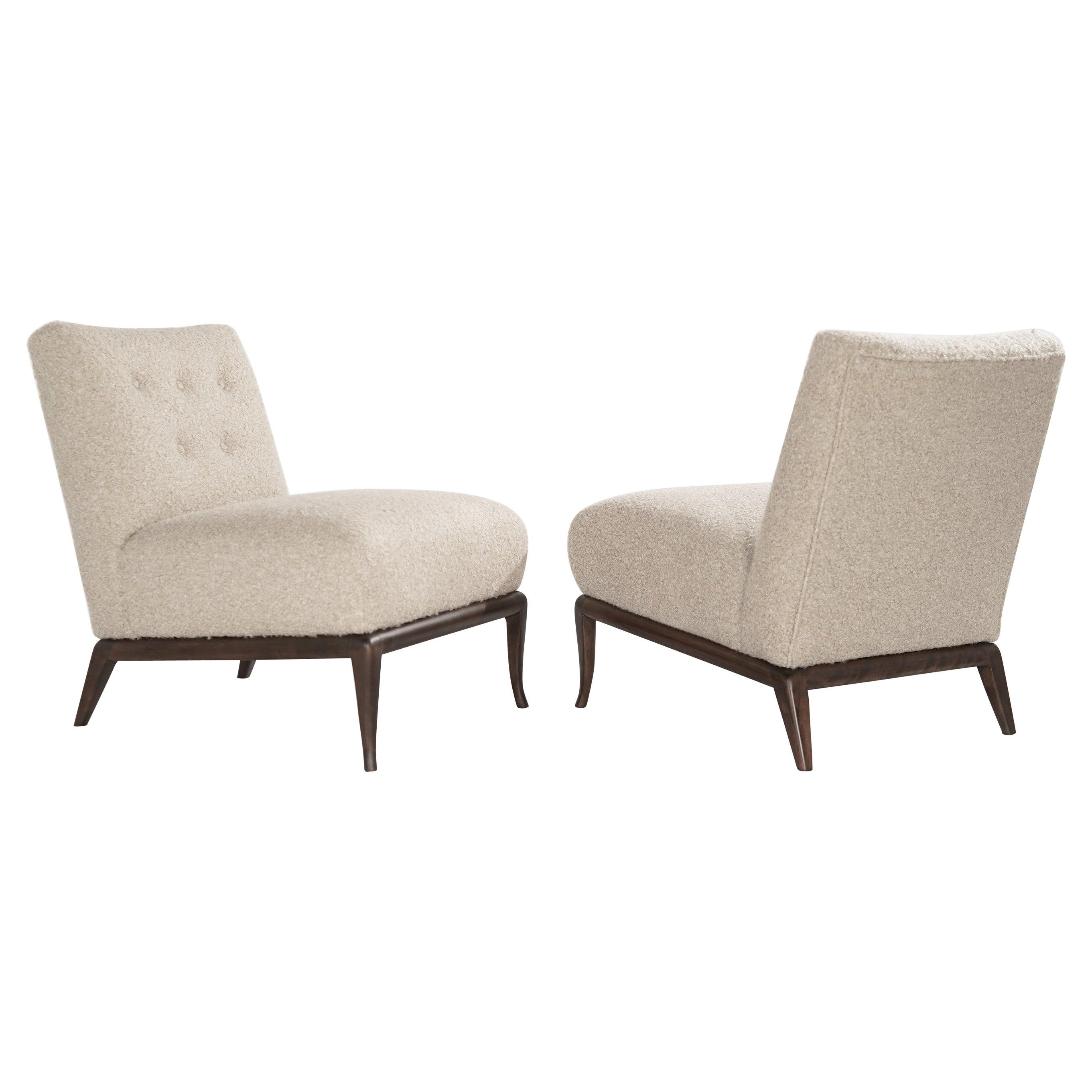 Slipper Chairs in Bouclé by T.H. Robsjohn-Gibbings, circa 1950s