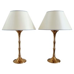 Midcentury Brass Bamboo Table Lamps ML1 by Ingo Maurer, 1968 Germany, Set of Two