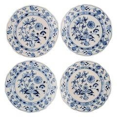 Four Antique Meissen Blue Onion Lunch Plates in Hand-Painted Porcelain