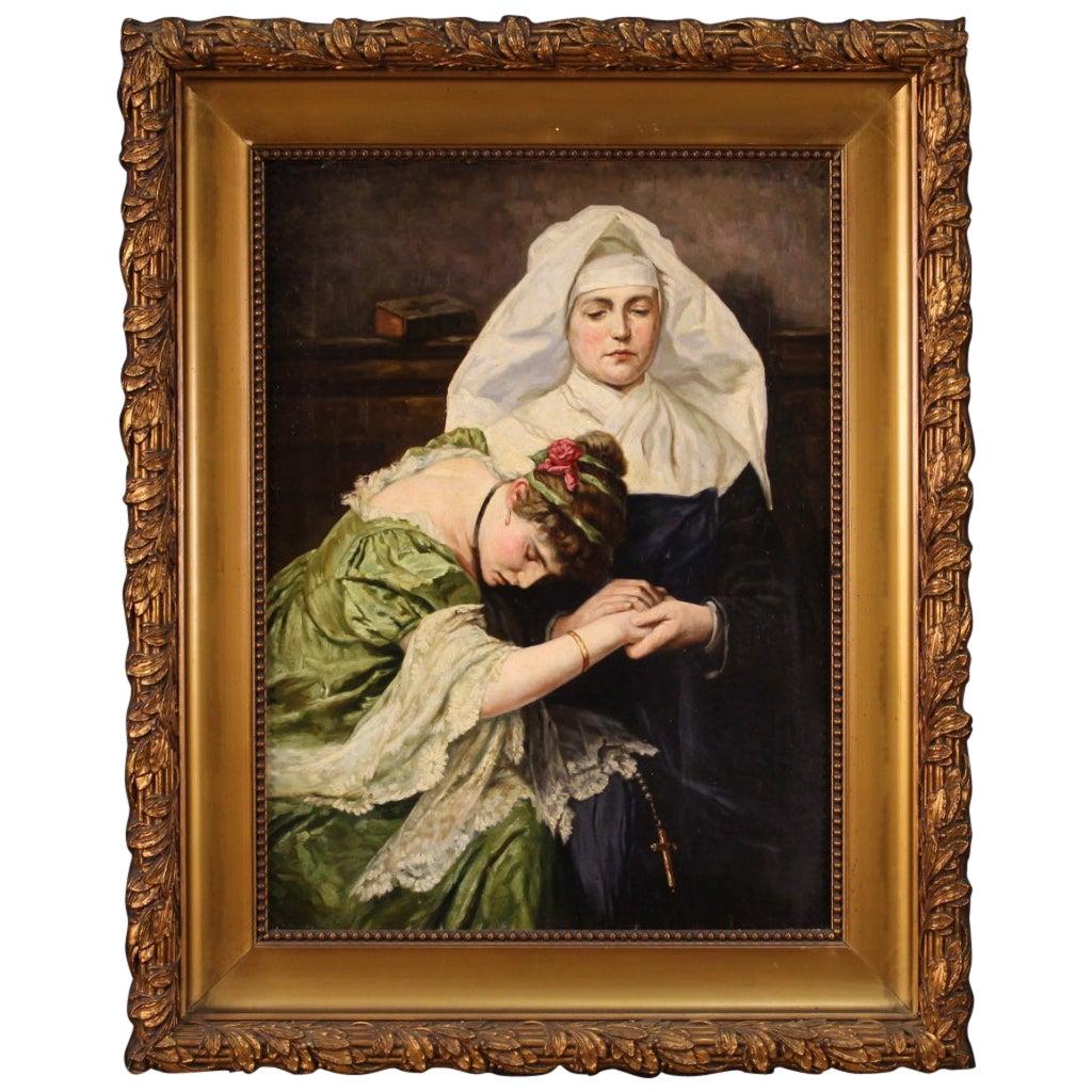 19th Century Oil on Canvas Antique Italian Romantic Painting, 1880