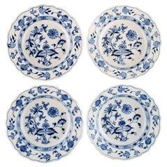 Four Antique Meissen Blue Onion Deep Plates in Hand-Painted Porcelain