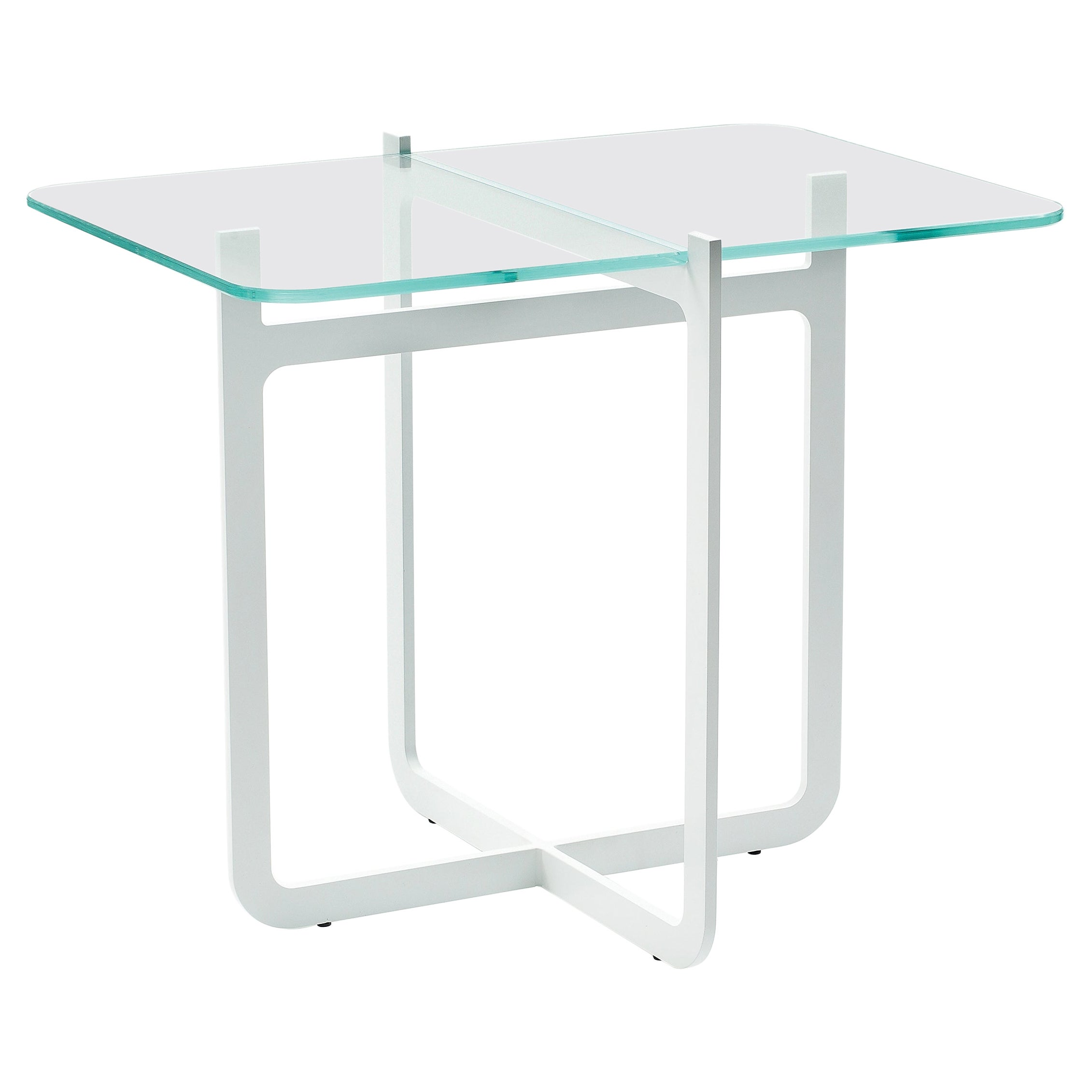 Clip Coffee Table High, Welded Lacquered Metal and Glass by Nendo