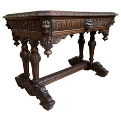 Antique French Carved Oak Dolphin Sofa Table Desk Renaissance Gothic 19th C