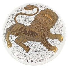 Piero Fornasetti Hand Painted Ceramic Zodiac Plates, Leo, 1965