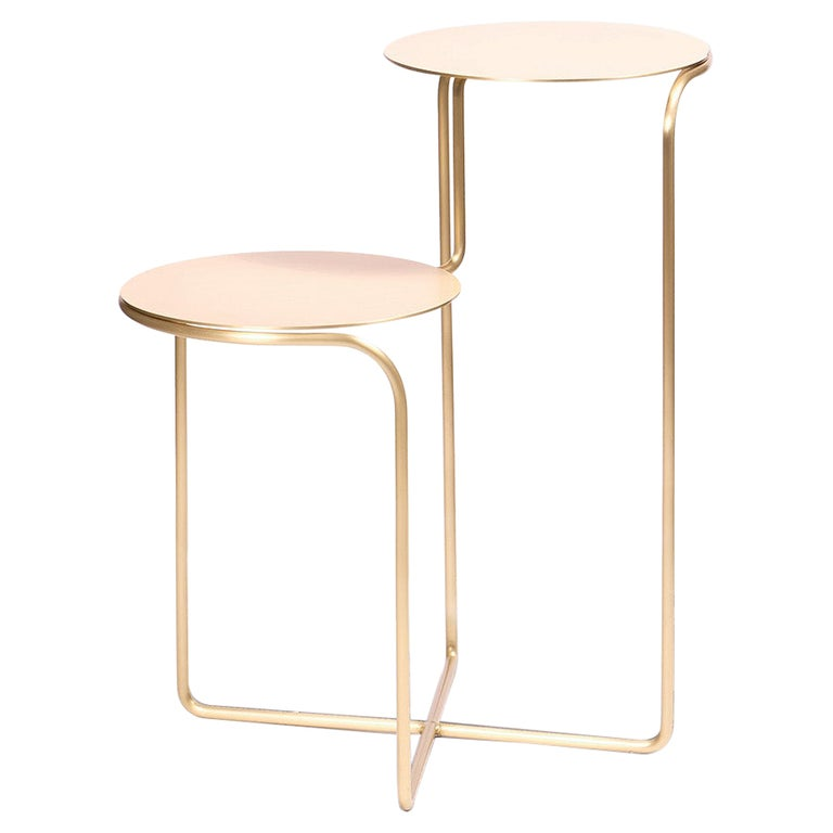 Bistable Aureo Contemporary Brass Side Table Made in Italy by LapiegaWD For Sale