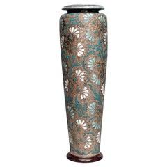 English Victorian Daulton Floral Ceramic Vase