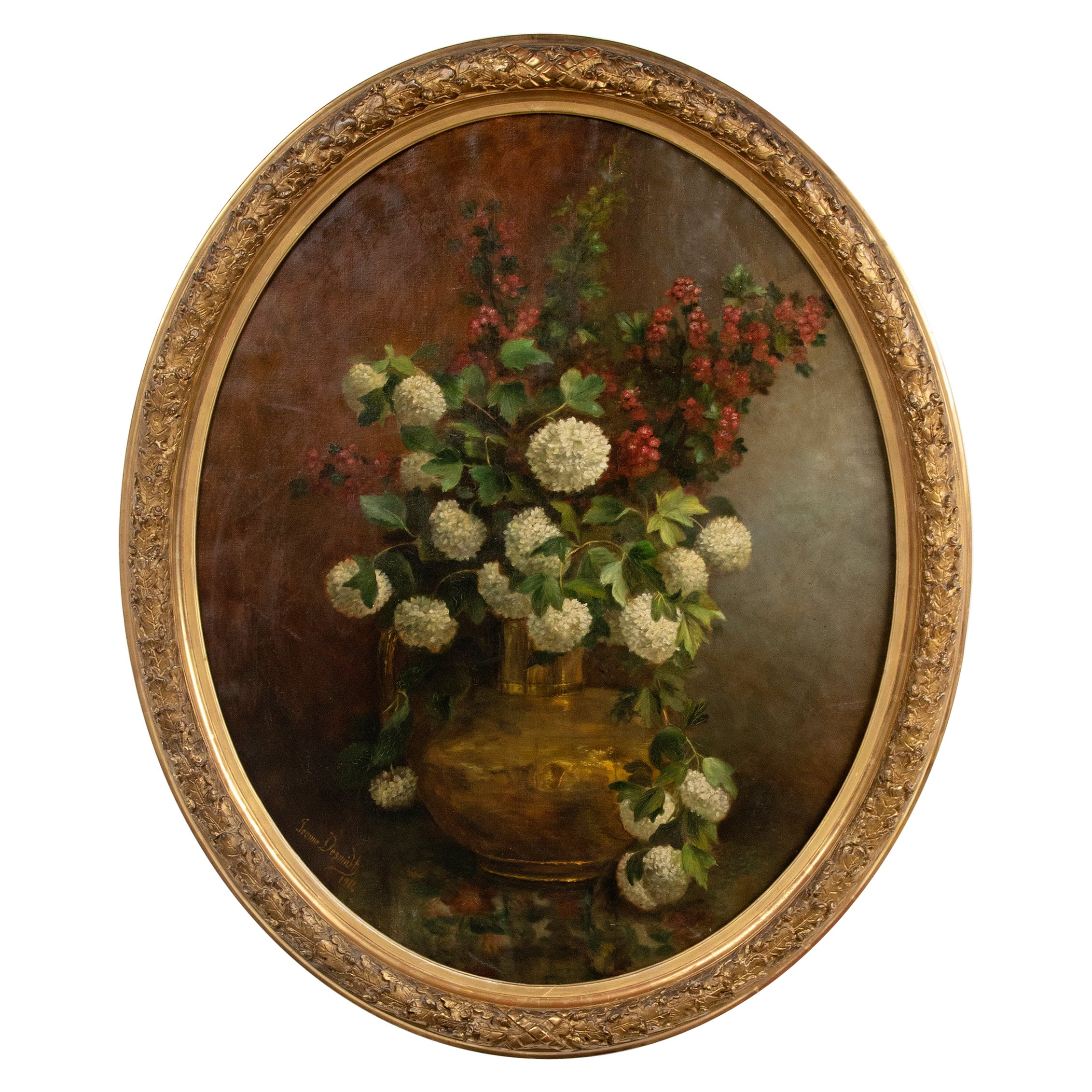 Early 20th Century Oval Oil Painting Flower Still Life by Jeanne Desmidt
