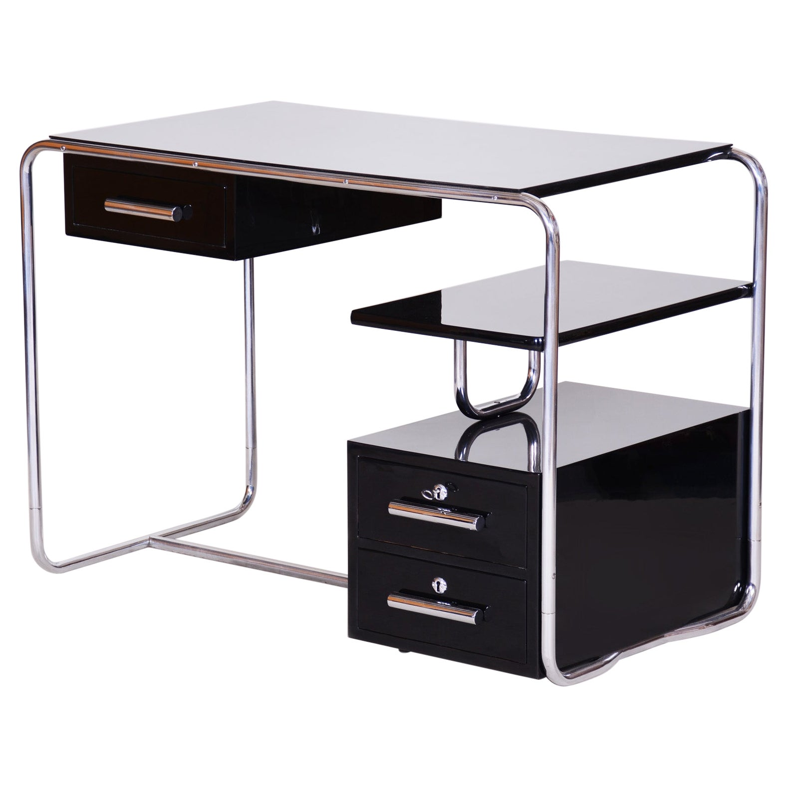 Black German Bauhaus Chrome Plated Steel Writing Desk, Made in the 1930s
