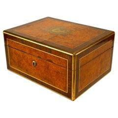English Victorian Wanlnut and Rosewood Makeup Travel Case