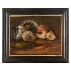 French 19th Century Oil on Wood Still Life of Shells