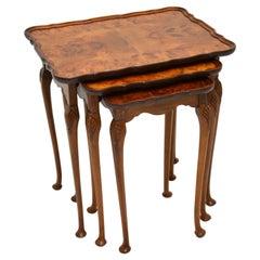 Antique Burr Walnut Pie Crust Nest of Tables