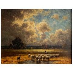 "Chaigneau Paul '1879-1938' ""The herd"" Panel"