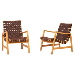 Pair of Jens Risom Lounge Chairs in Brown Webbing for Knoll, 1950s