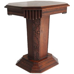 Antique French Art Deco Side Table 1920 Coffee Table Solid Oak Carved Geometric