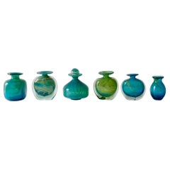 Set of 6 Mdina Turquoise Blue and Green Glass Vases, 1960s
